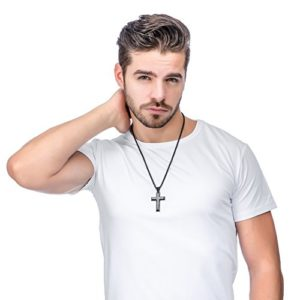 fab3024bcbb050 Home / Jewelry / Mens Jewelry / Jstyle Jewelry Men's Stainless Steel Simple  Black Cross Pendant Lord's Prayer Necklace 22 24 30 Inch (4.
